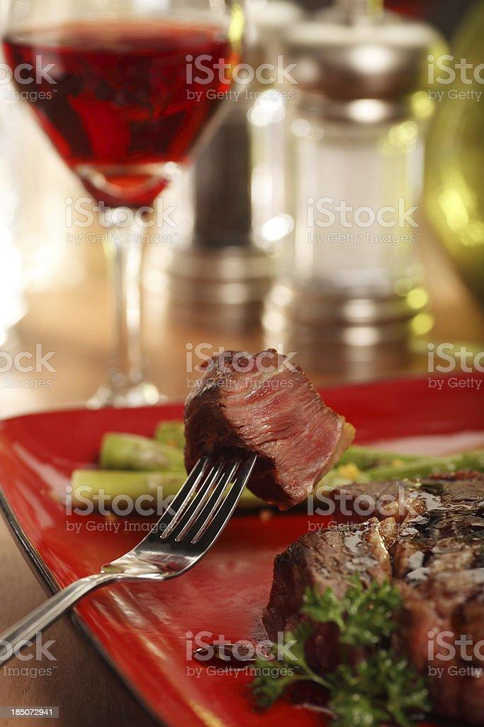 Steak Dinner on a Fork royalty-free stock photo
