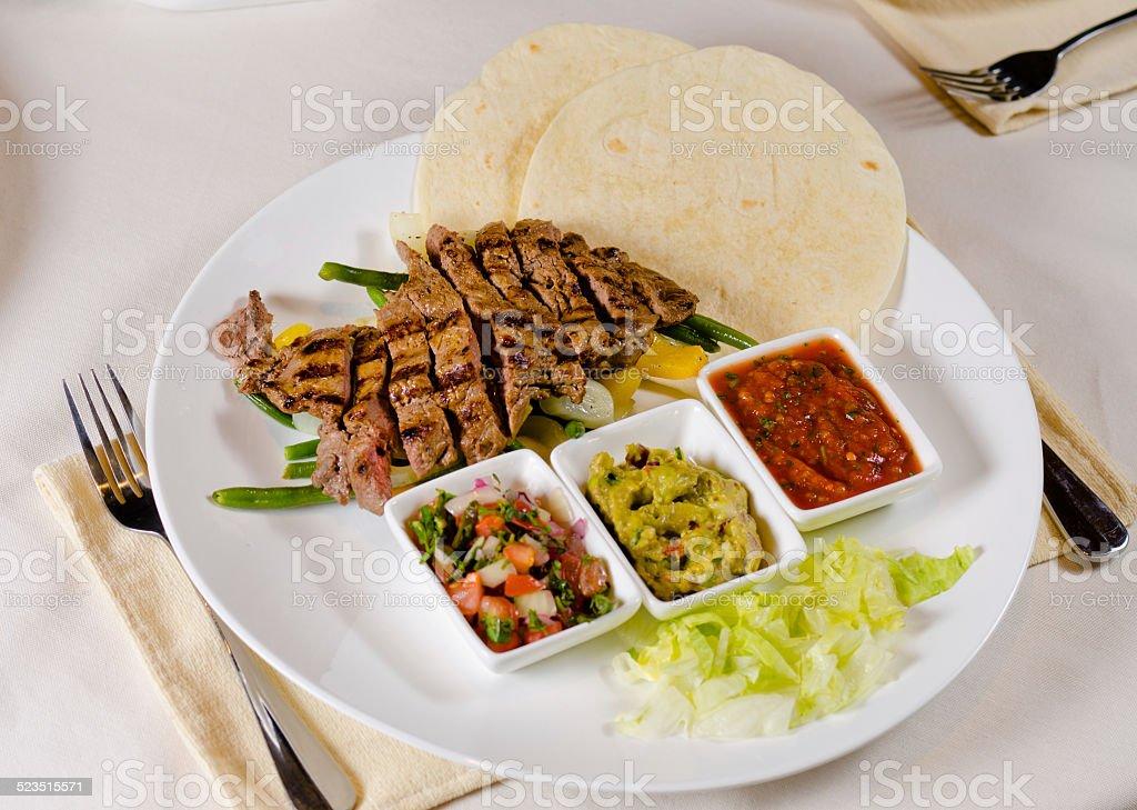 Steak Fajitas on Plate stock photo
