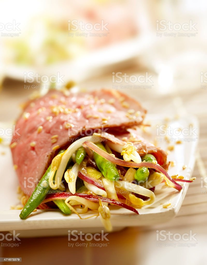 steak filled with diffrent kind of vegetables royalty-free stock photo