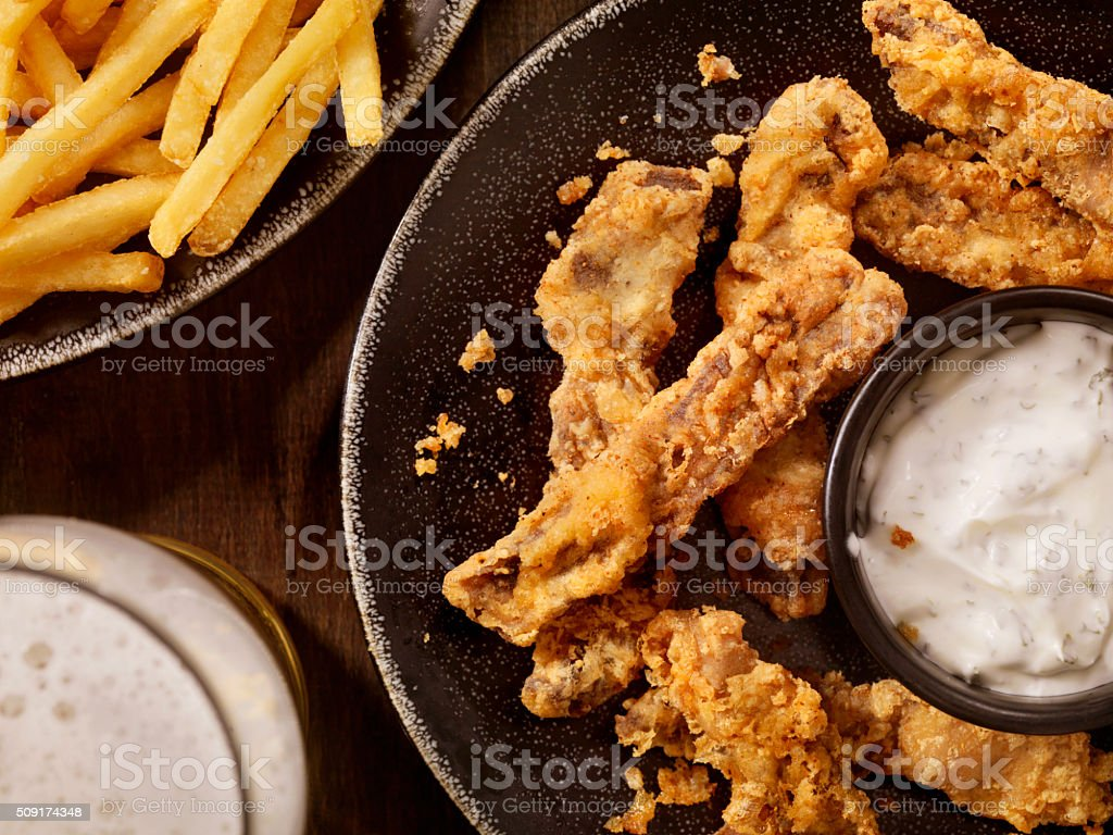 Steak Fingers with French Fries and a Beer stock photo