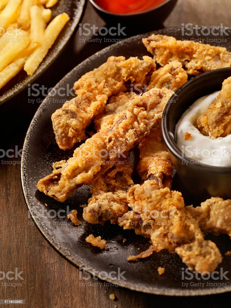 Steak Fingers with French Fries stock photo