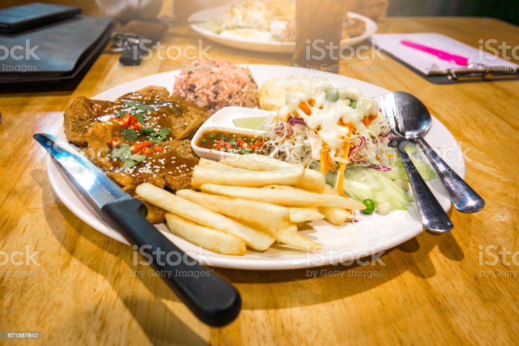 Steak food meal on dinner in restaurant. It delicious food stock photo