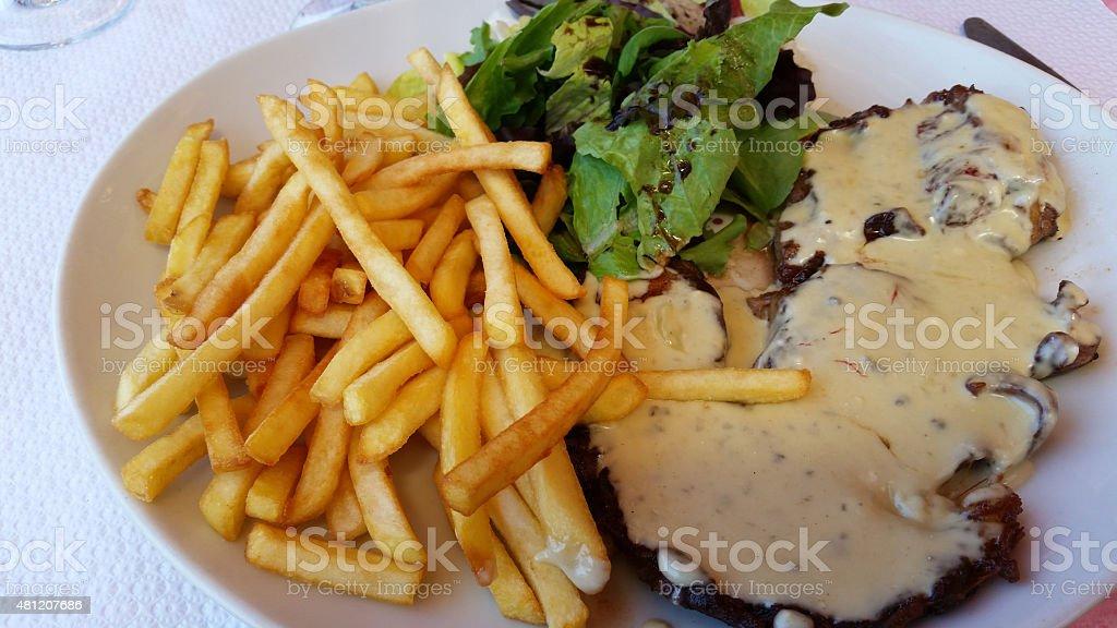 Steak Frites with Bearnaise Sauce stock photo