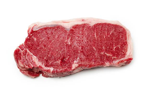 steak isolated on white - sirloin stockfoto's en -beelden
