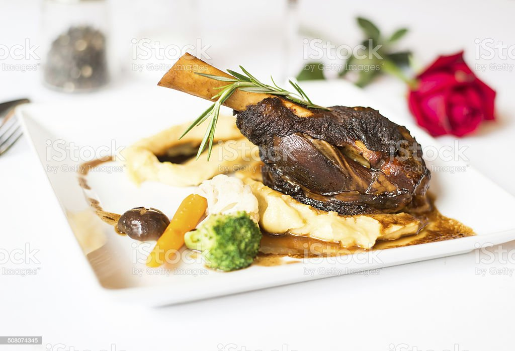 steak lamb shank stock photo