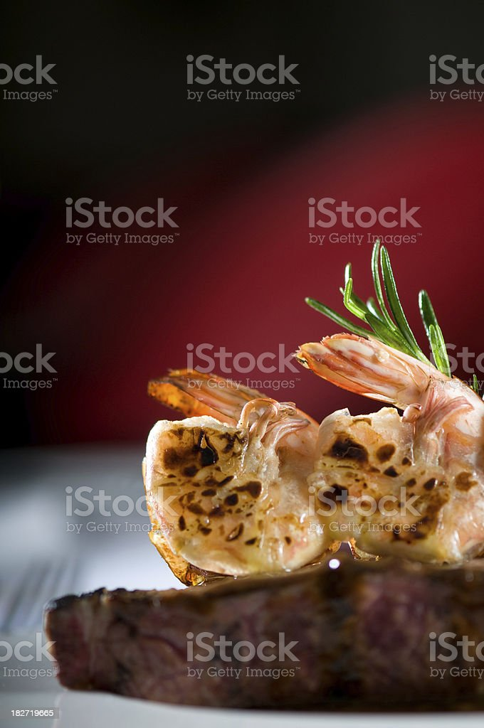 Steak n Shrimps stock photo