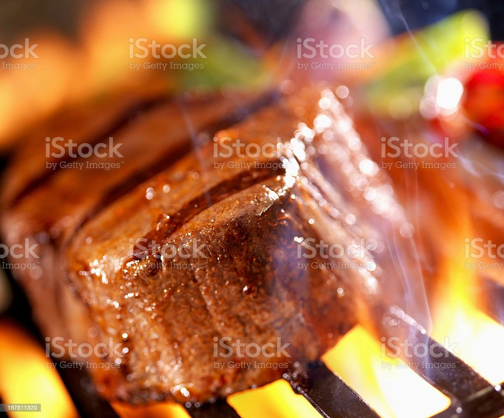 BBQ Steak on the Grill royalty-free stock photo