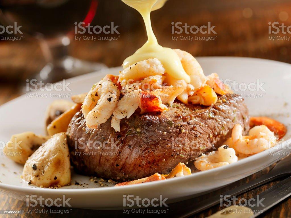 Steak Oscar stock photo