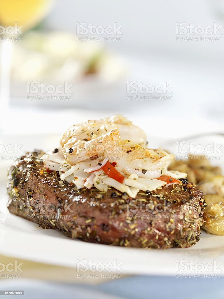 Steak Oscar with White Wine royalty-free stock photo