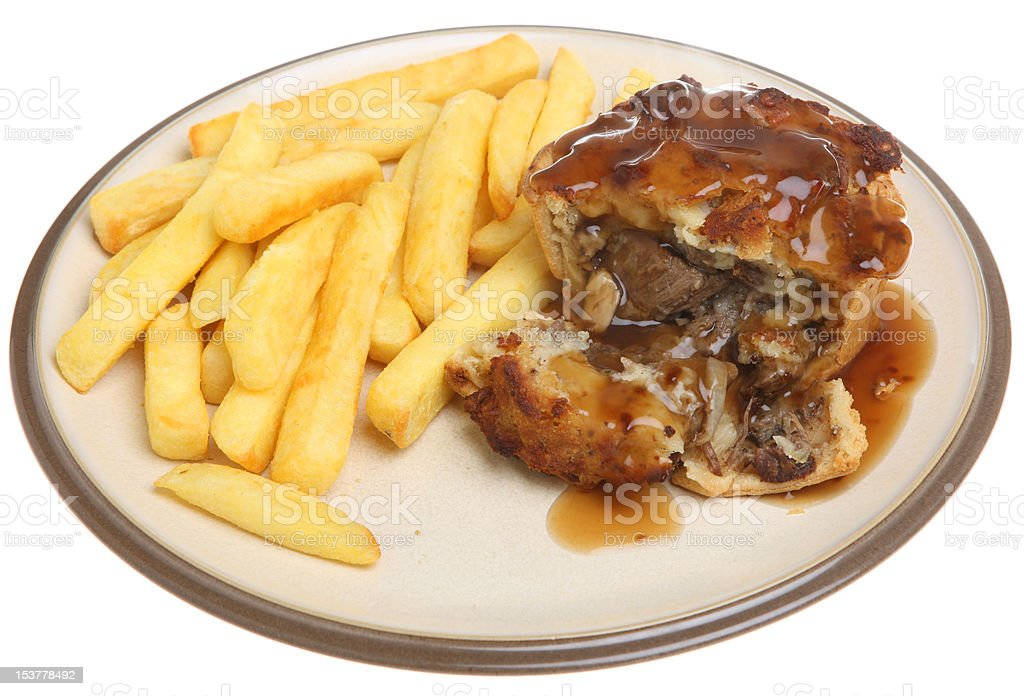 Steak Pie with Chips royalty-free stock photo
