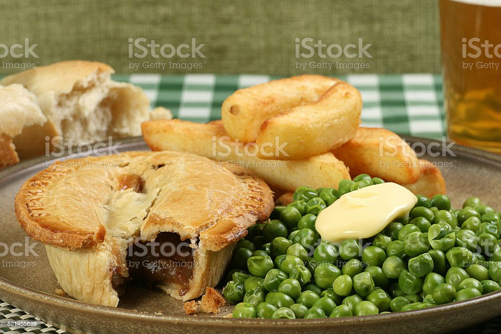 Steak Pie With Fries And Peas Stock Photo - Download Image ...