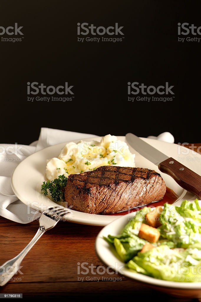 Steak Potatoes and Salad royalty-free stock photo