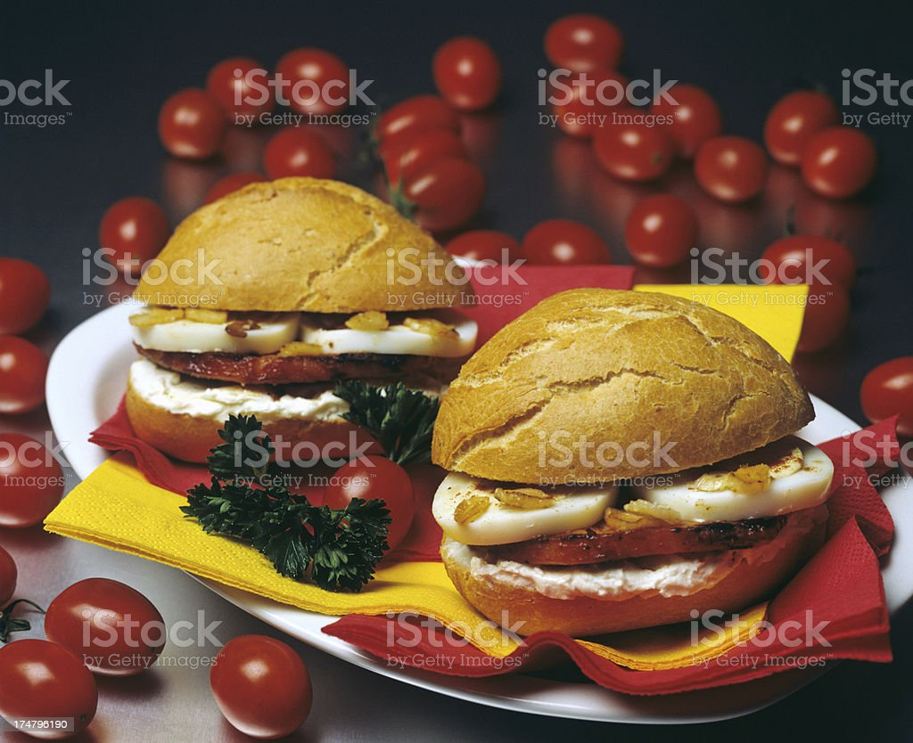 Steak Sandwich with cherry tomatoes royalty-free stock photo