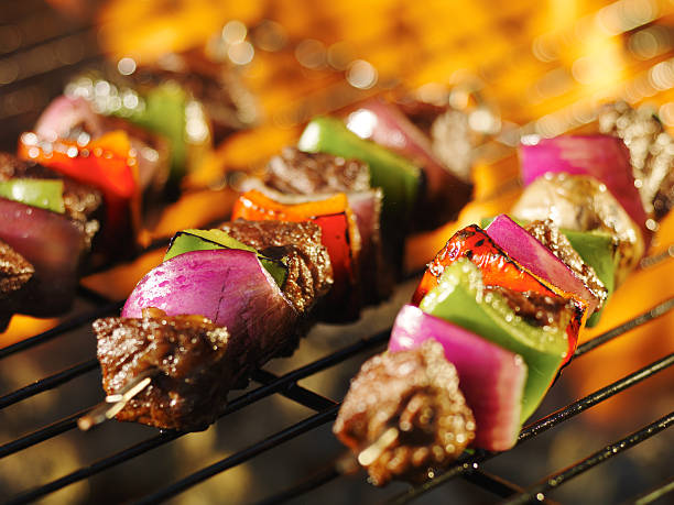 steak shishkabob skewers stock photo