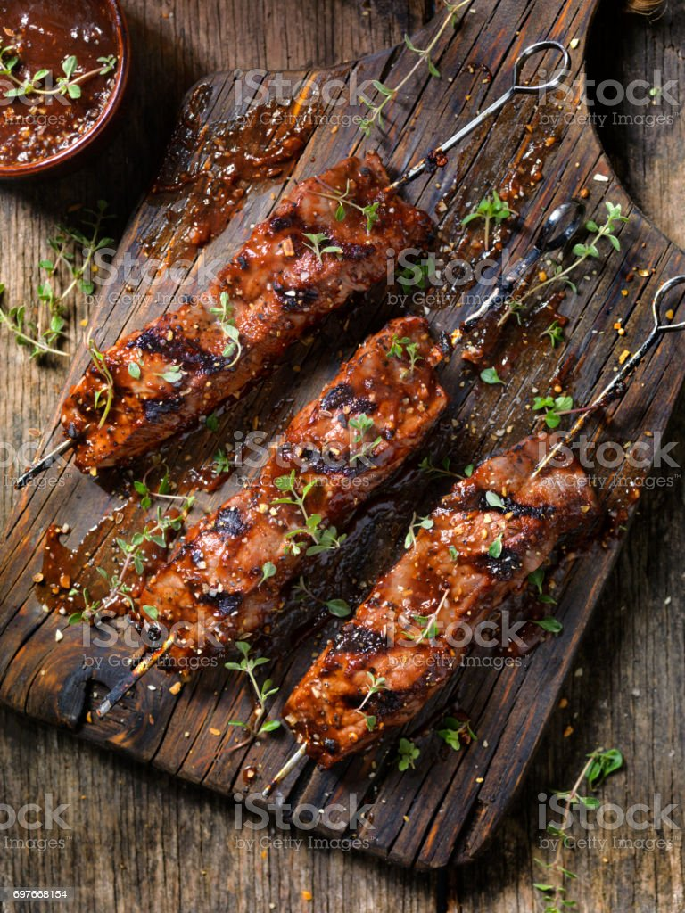 BBQ Steak Skewers stock photo