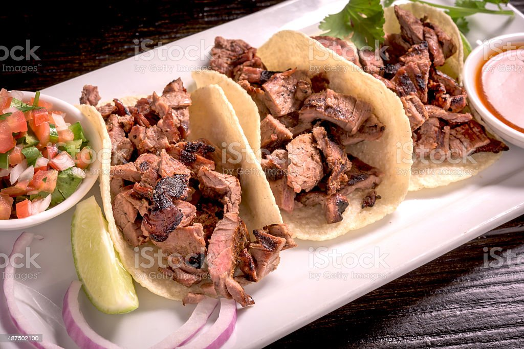 Steak tacos from above stock photo