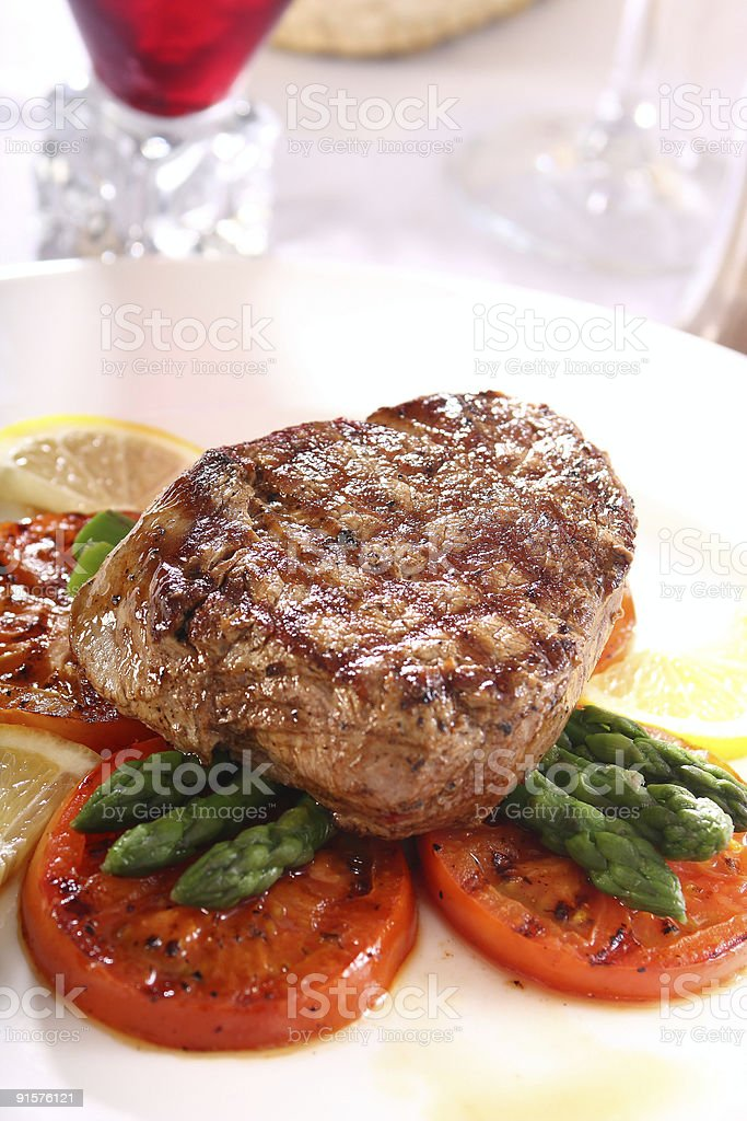 steak with asparagus royalty-free stock photo