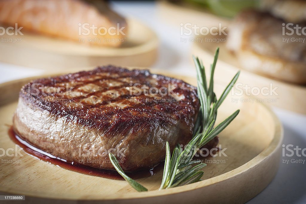 Steak with blood stock photo