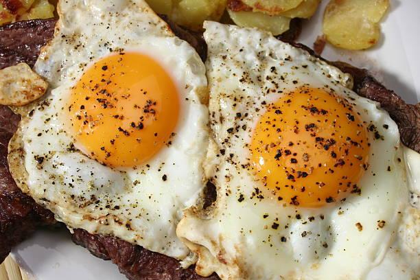 Steak with Eggs stock photo