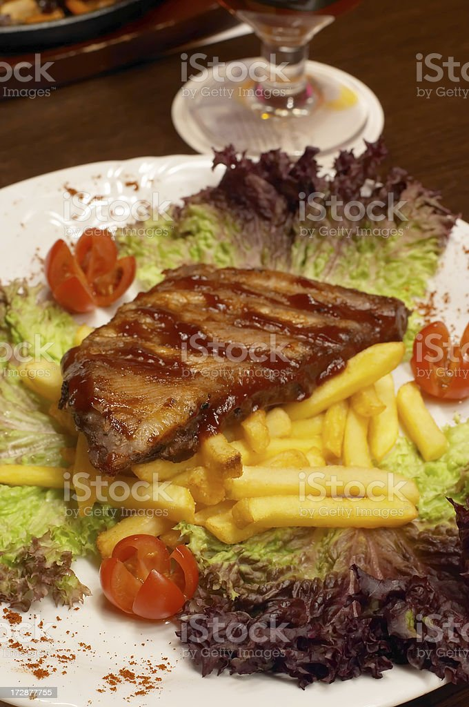 Steak with fries royalty-free stock photo