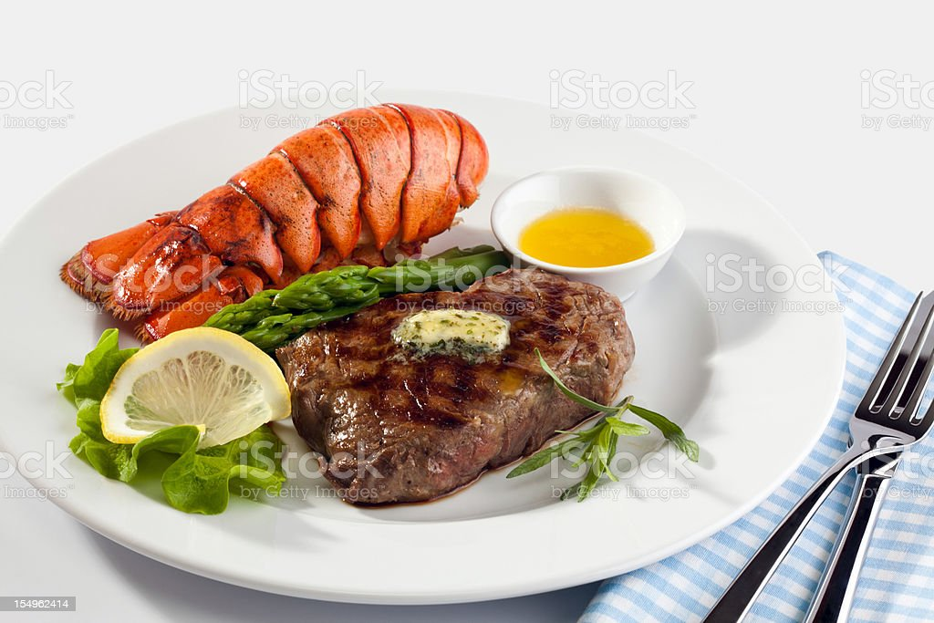 Steak with lobster stock photo