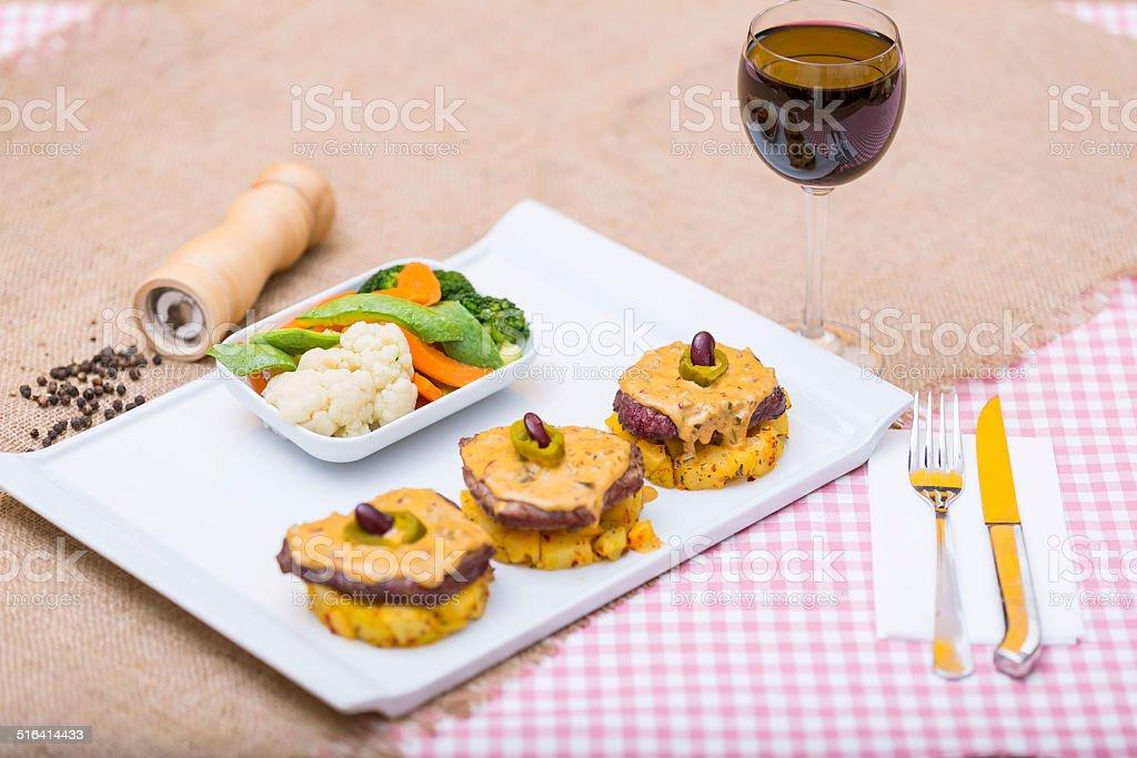 Steak with Mexican Jalapeño and potatos stock photo