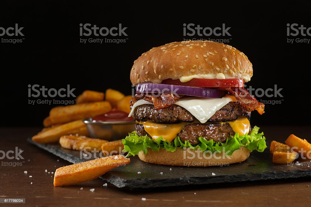 Steakhouse Double Bacon Cheeseburger stock photo
