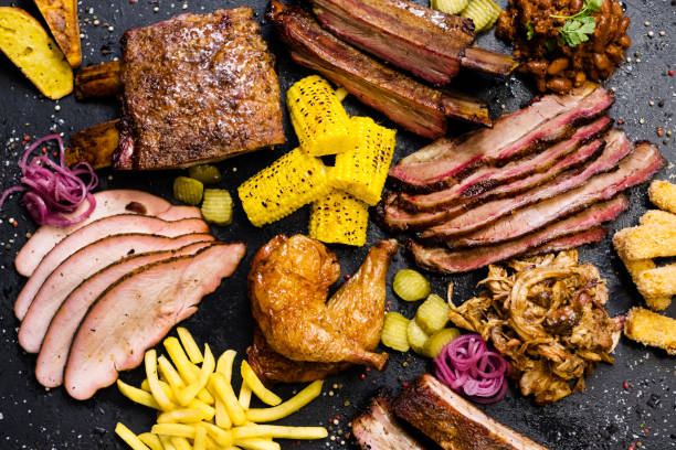 steakhouse menu smoked meat assortment vegetables stock photo