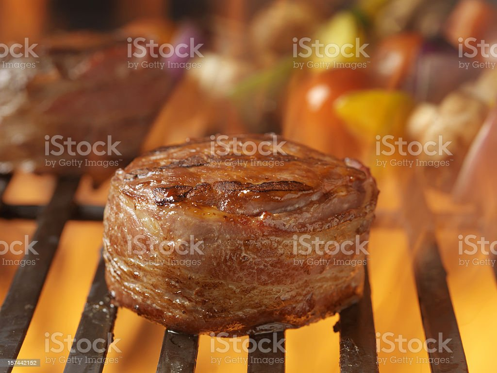 BBQ Steaks and Vegetable Kabobs royalty-free stock photo