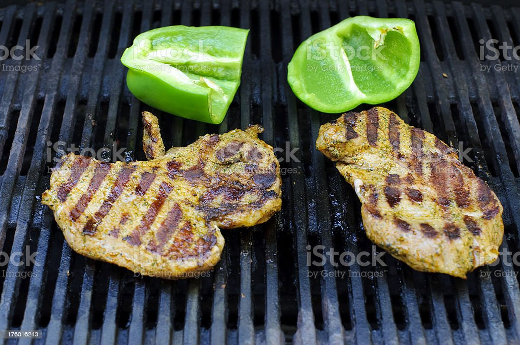 Steaks on barbecue grill royalty-free stock photo