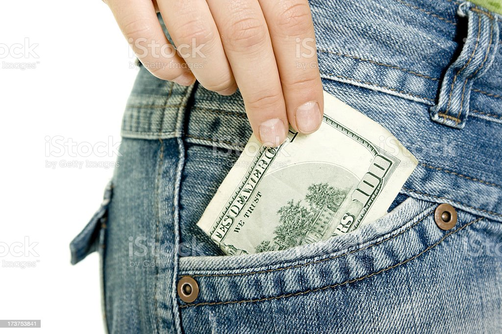 Stealing money isolated on white royalty-free stock photo