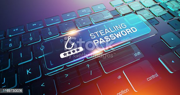 812847840 istock photo Stealing Password Button on Computer Keyboard 1169730026