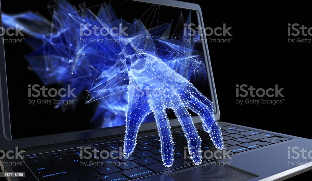 Stealing personal data through a laptop concept stock photo