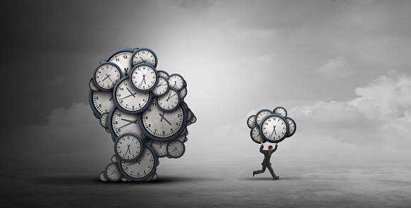 Stealing time or time theft as an employee getting pay for work not done also as an idea for procrastination or procrastinate psychology with 3D illustration elements.
