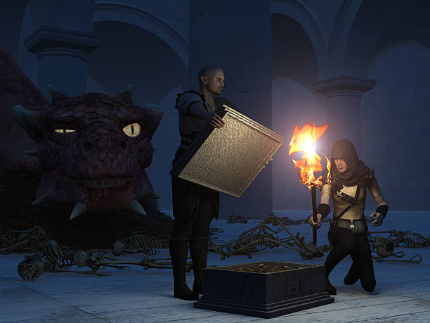 Stealing treasure from the dragon stock photo