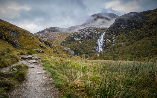 Steall Falls in Glen Nevis, Scotland