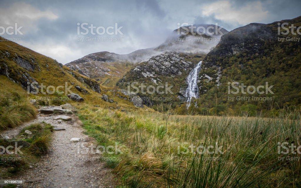 Steall Falls in Glen Nevis, Scotland stock photo