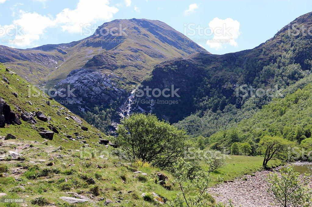Steall Falls, Scotland stock photo