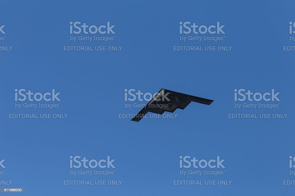 B-2 Stealth Bomber flying over Pasadena CA at Rose Parade stock photo