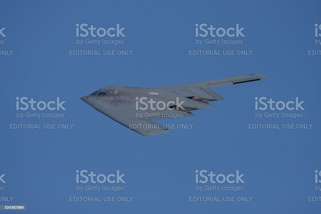B-2 Stealth Bomber In Flight stock photo