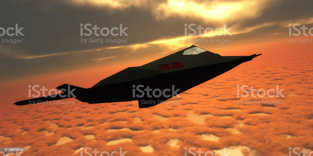 Stealth Fighter Jet Side View stock photo