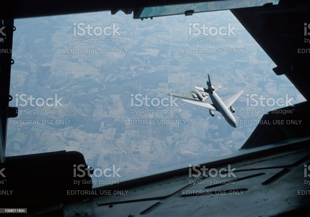 B2 Stealth Mid-Air Refueling with KC-10A Tanker stock photo