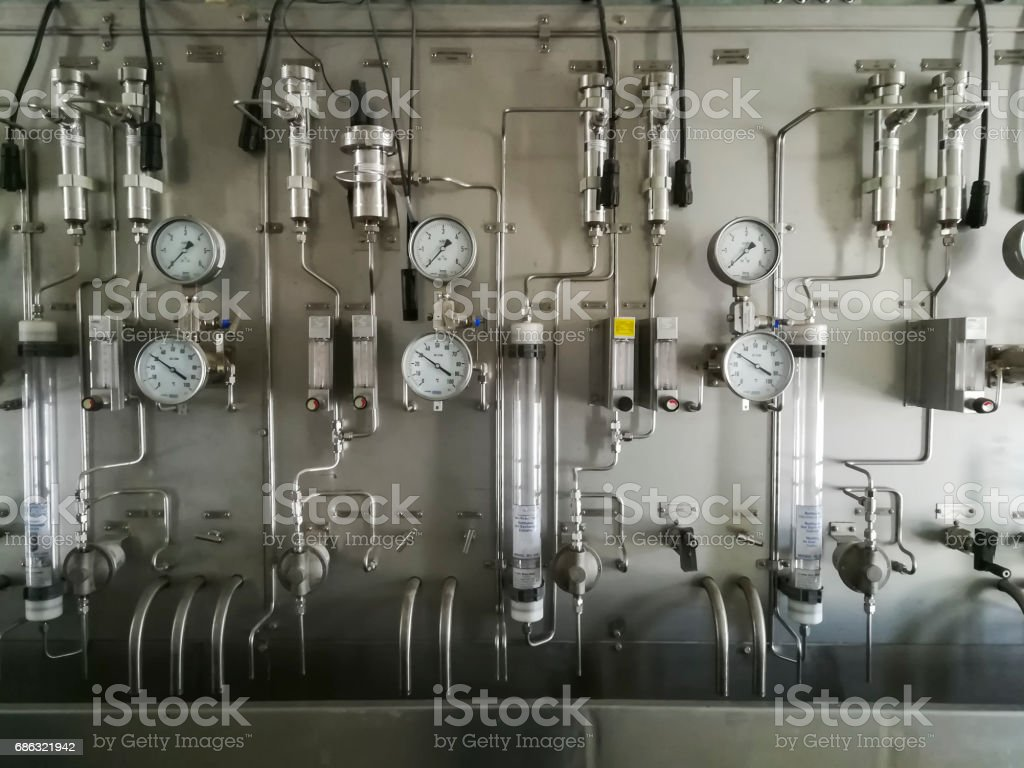 Steam and chemical sampling panel in sampling room of power plant stock photo