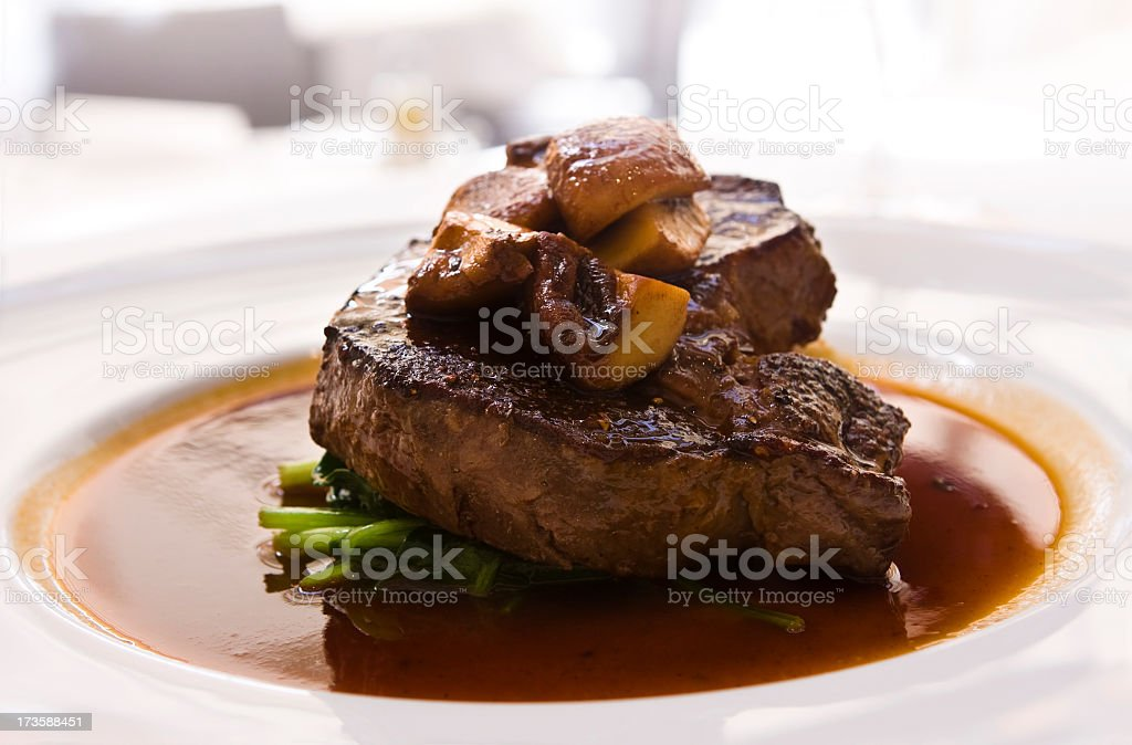 Steam and mushrooms for a hearty feast to usher in the fall  stock photo
