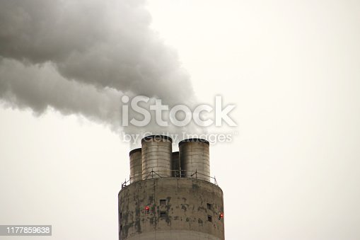 Steam and water vapour coming out of chimney of waste company AEB in Amsterdam the Netherlands