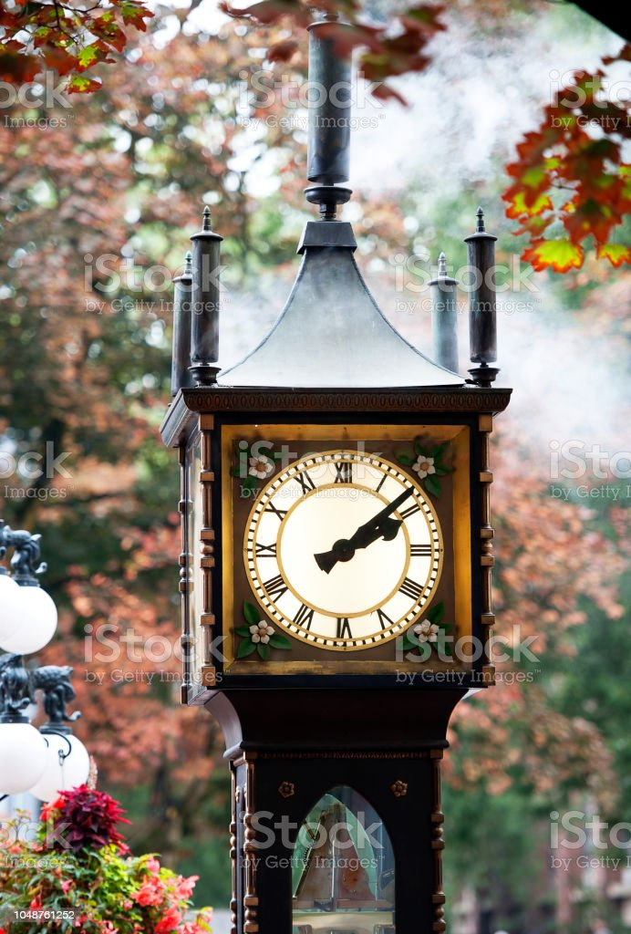 Steam clock whistle chimes, Gastown, Vancouver, B.C., Canada stock photo