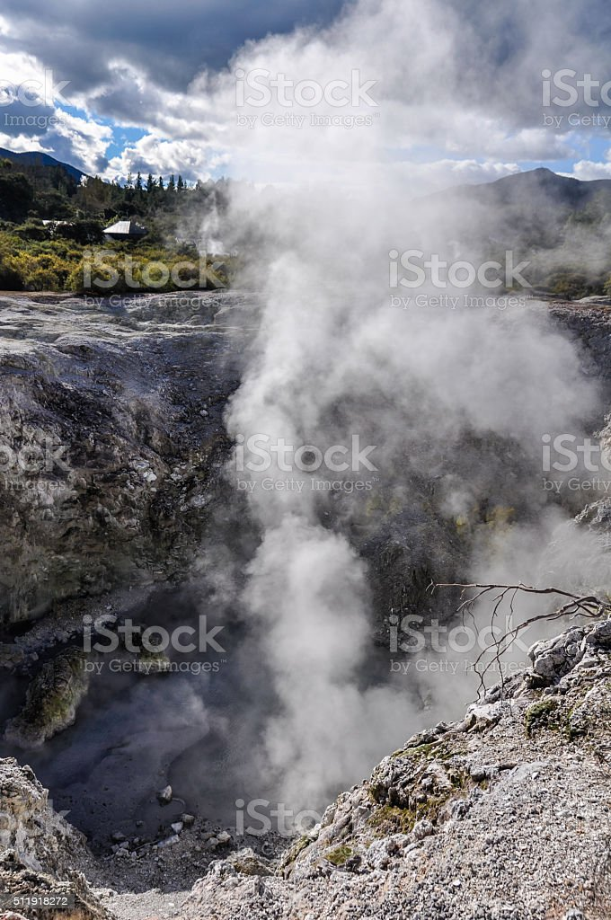 Steam coming out in Wai-o-tapu geothermal area, Rotorua, New Zealand stock photo