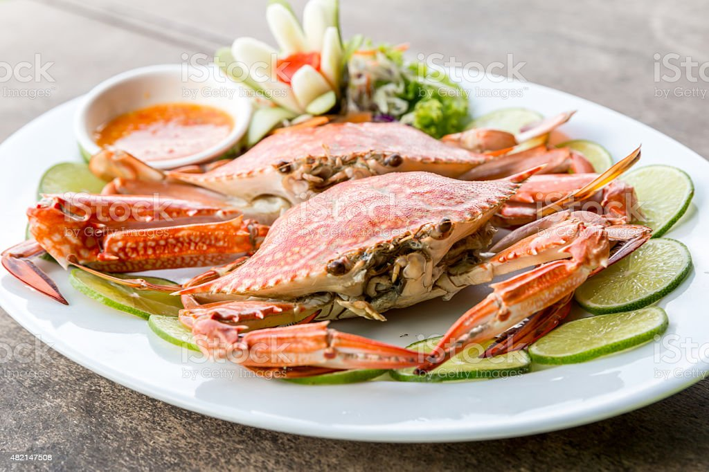 steam crab seafood stock photo