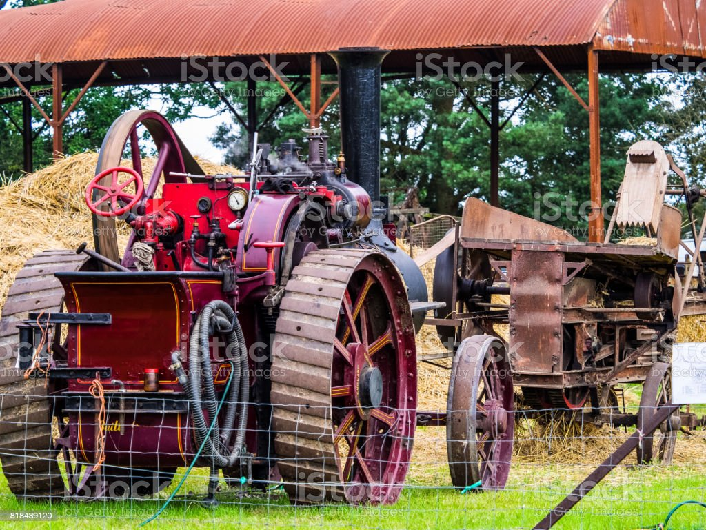 Steam driven bale machine stock photo