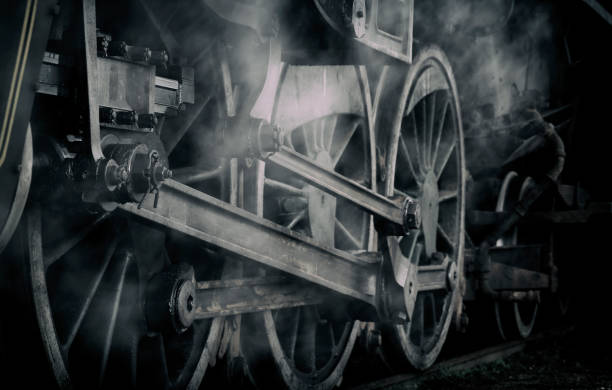 dampfmaschine locomotive zug rad wispy - lokomotive stock-fotos und bilder